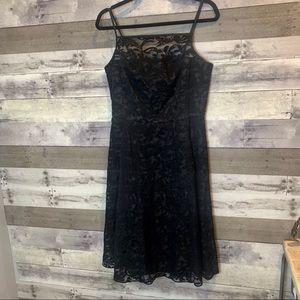 Calvin Klein Black Embroidered Fit Flare Dress